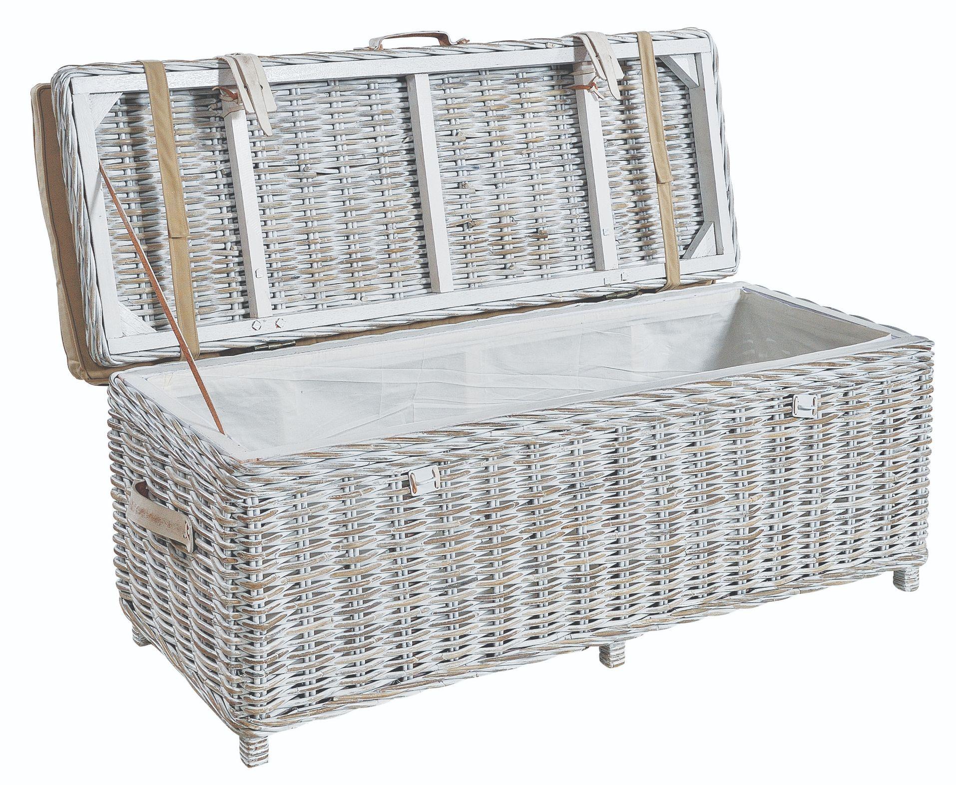 MAYA White Wash Rattan Storage Bench