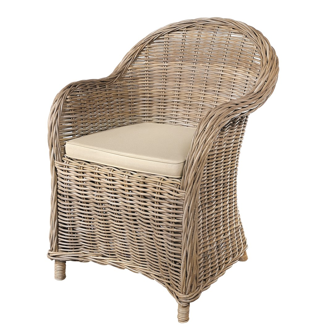 MAYA Grey Wash Rattan Armchair