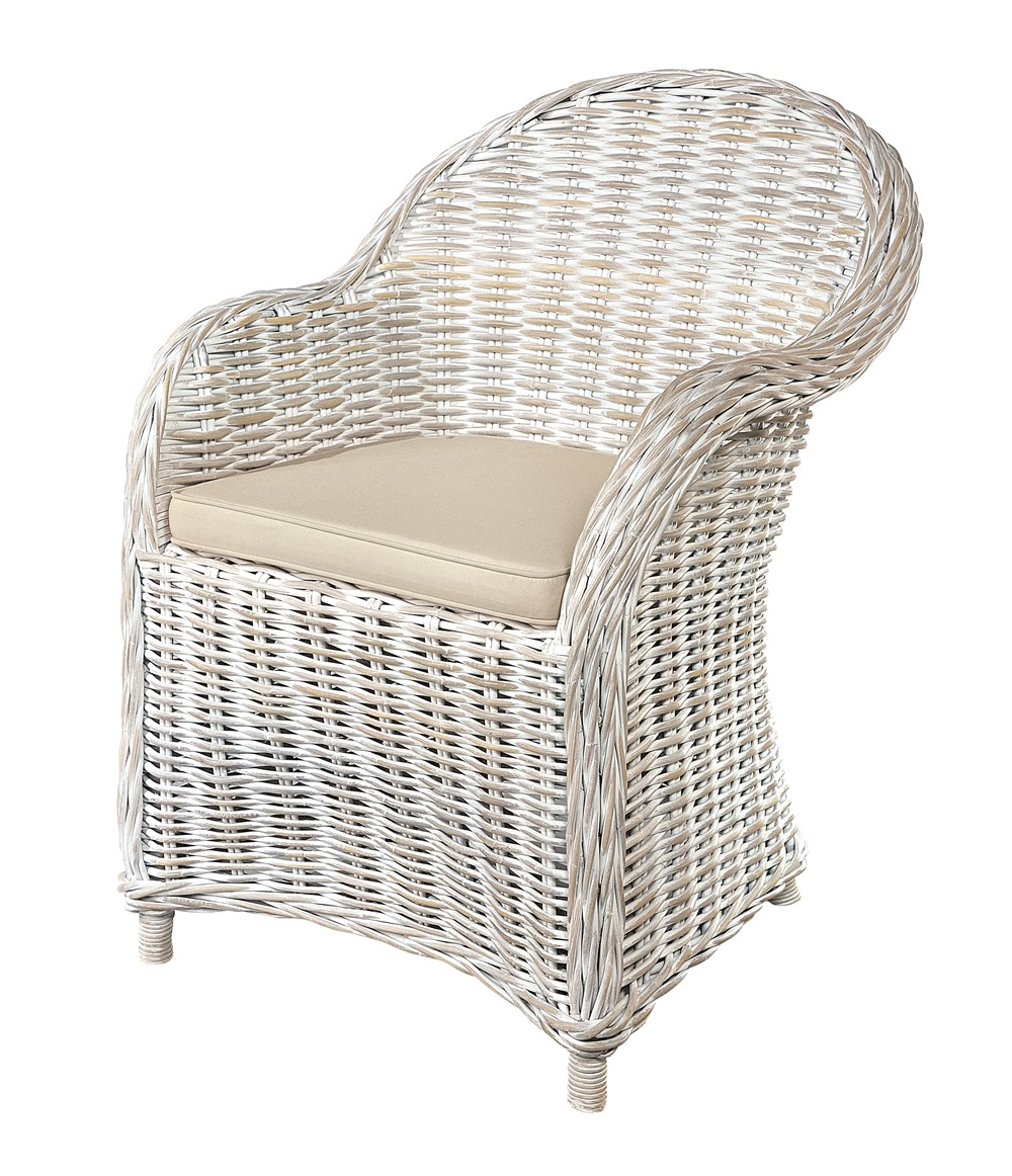 MAYA White Wash Rattan Armchair