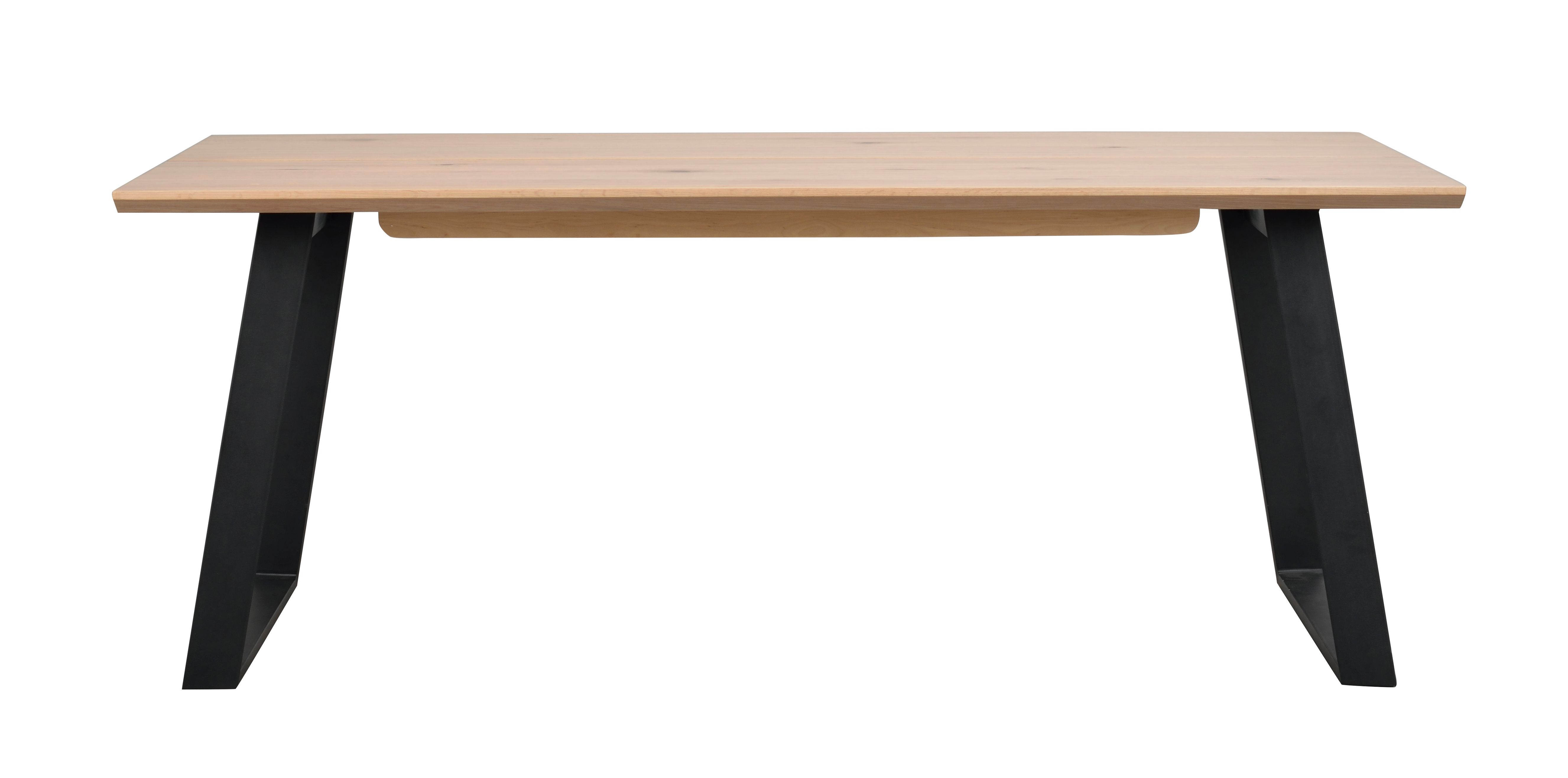 MELVILLE Dining Table In Natural Oak and Black Metal Legs