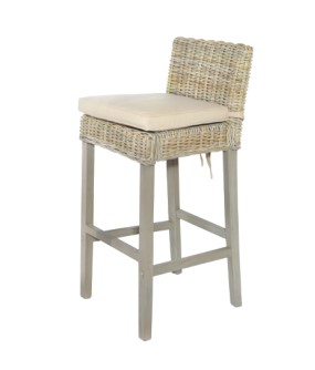 MAYA Grey Wash Rattan Bar Stool