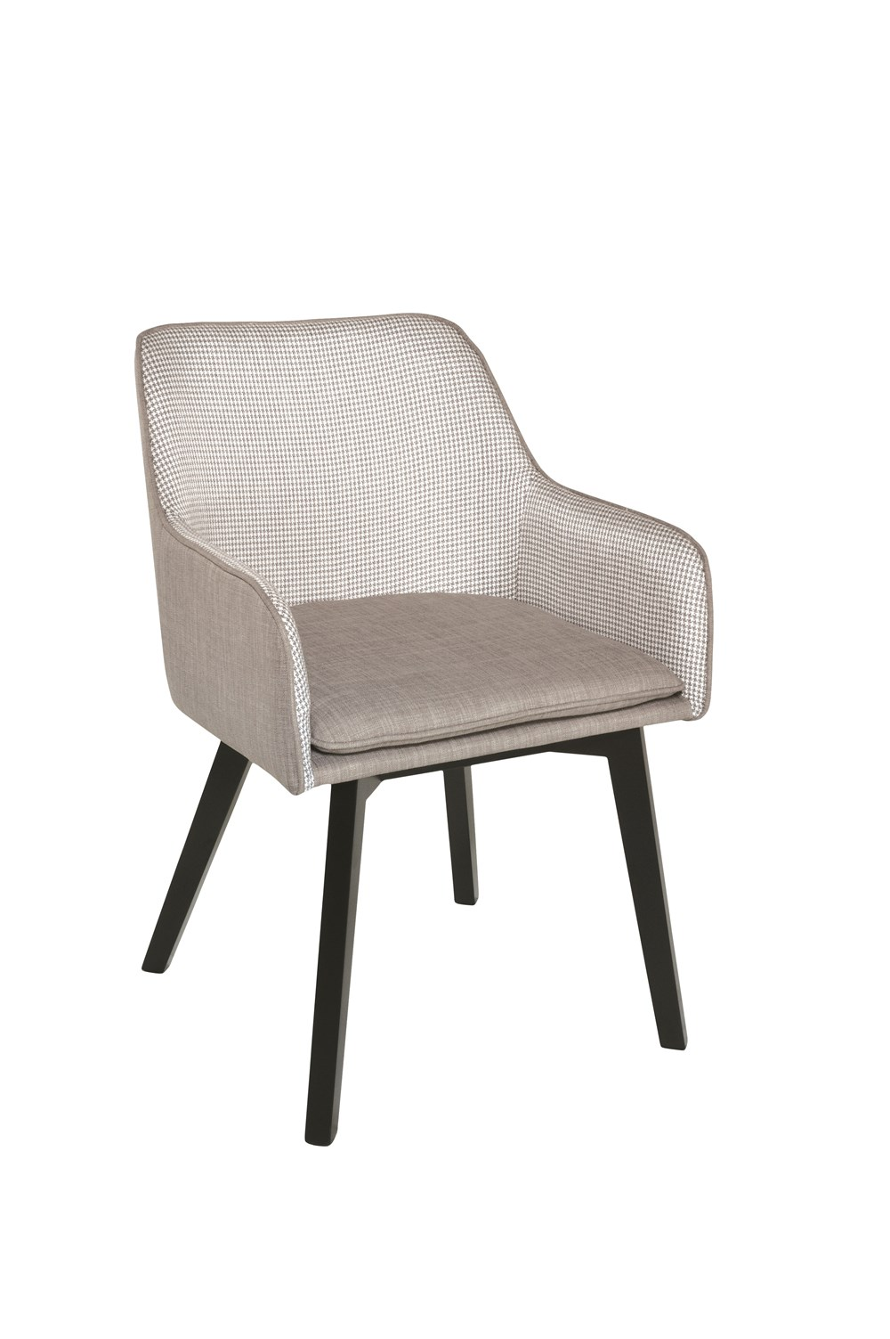 LOUISE Dining Chair in Grey Houndstooth with Black Legs