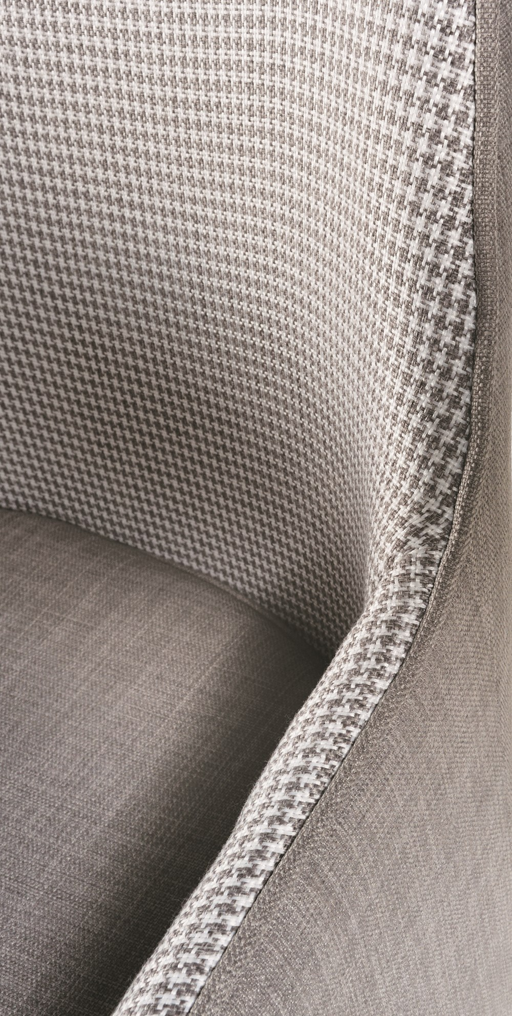 LOUISE Dining Chair in Grey Houndstooth with Natural Legs