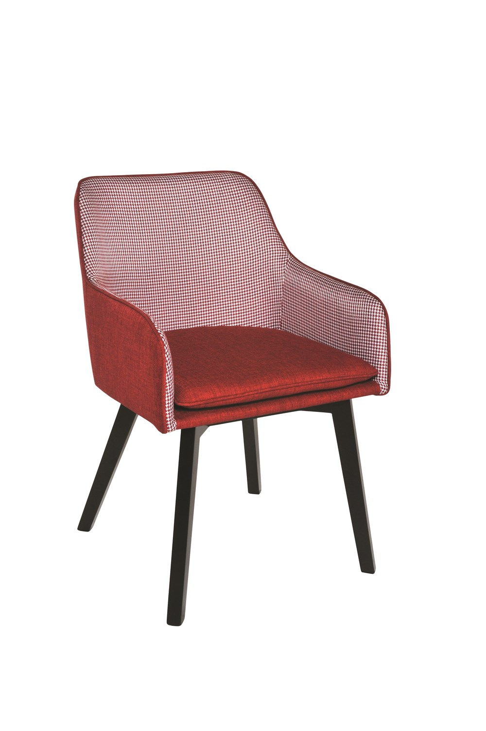 LOUISE Dining Chair in Red Houndstooth with Black Legs