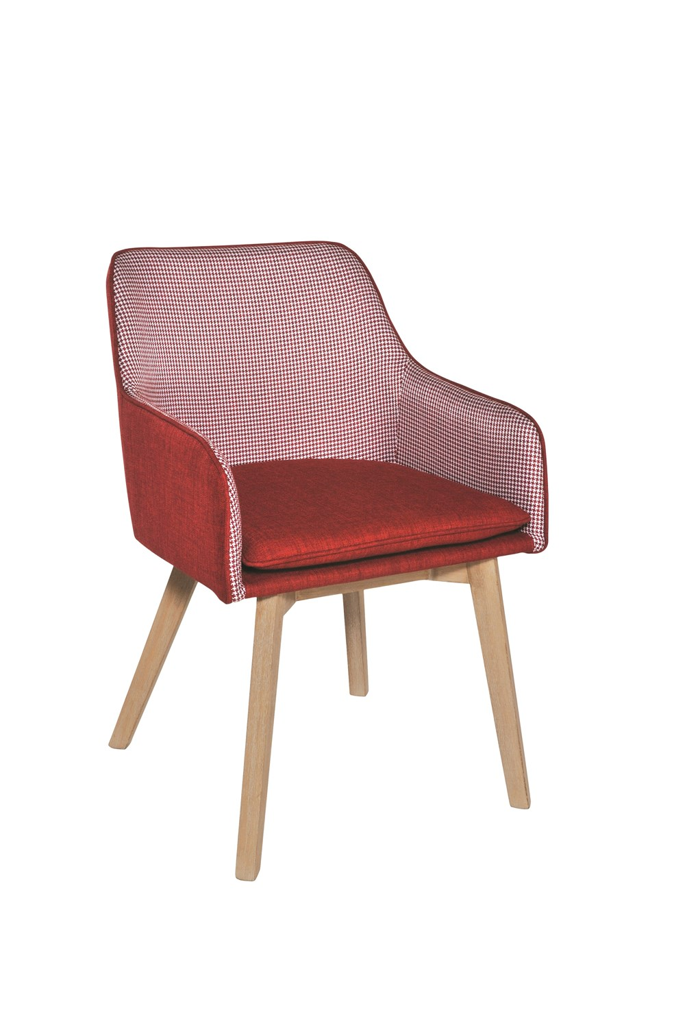 LOUISE Dining Chair in Red Houndstooth with Natural Legs