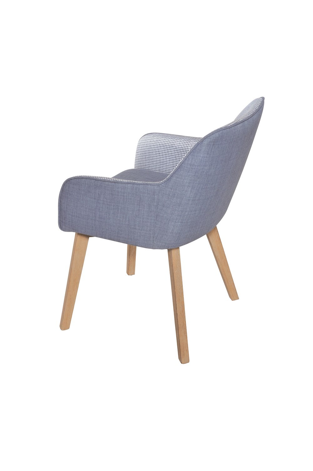 LOUISE Dining Chair in Blue Houndstooth with Natural Legs