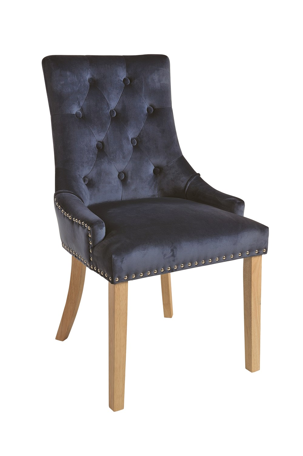 VICKY CHAIR Prussian Blue Upholstered Chair with Natural Legs