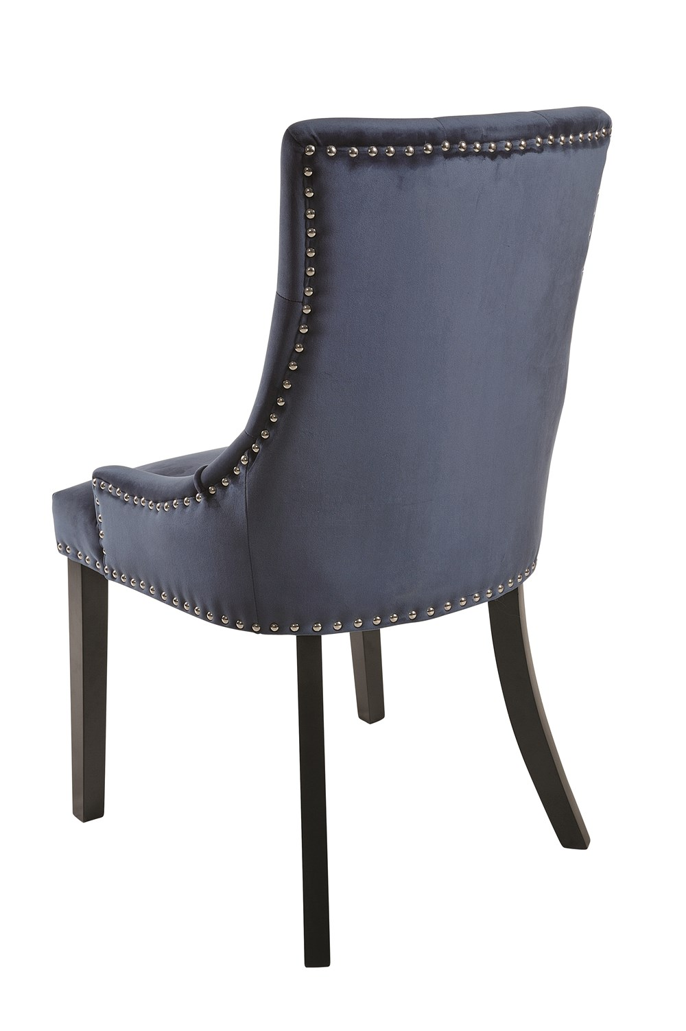 VICKY CHAIR Prussian Blue Upholstered Chair Black Legs