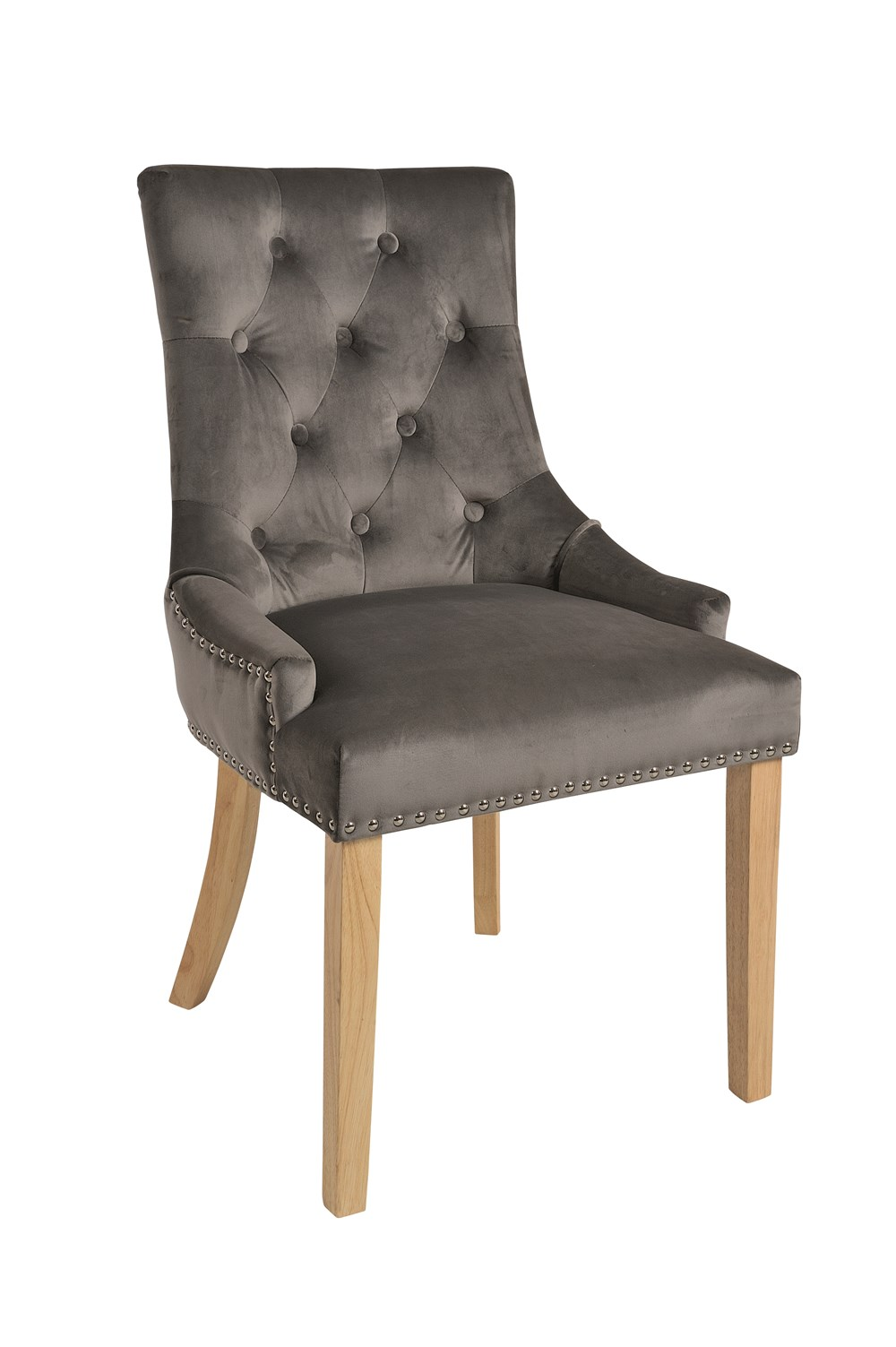 VICKY CHAIR Charcoal Upholstered Chair with Natural Legs
