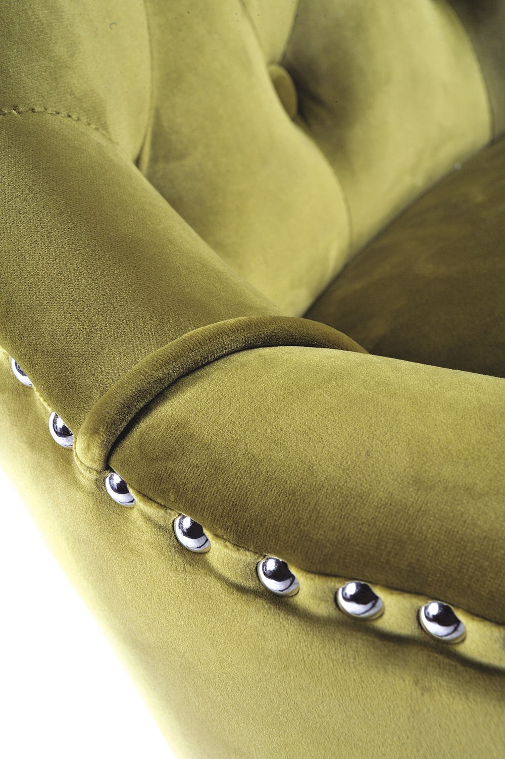 VICKY CHAIR Golden Lime Upholstered Chair with Vintage Legs