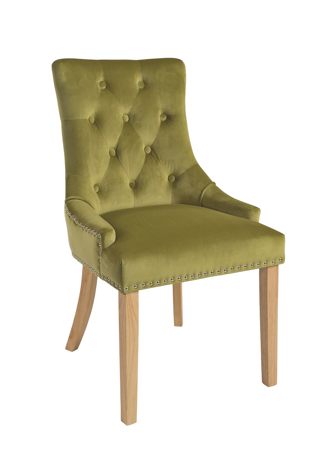 VICKY CHAIR Golden Lime Upholstered Chair with Natural Legs