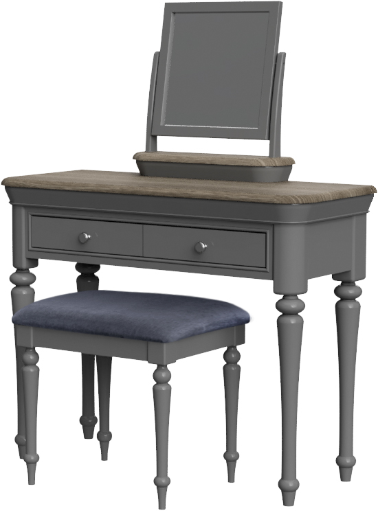 PABLO Dressing Table Stool - Charcoal Fabric Seat Pad