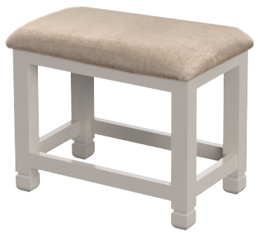 COBBLE Dressing Table Stool - Beige Fabric Seat Pad