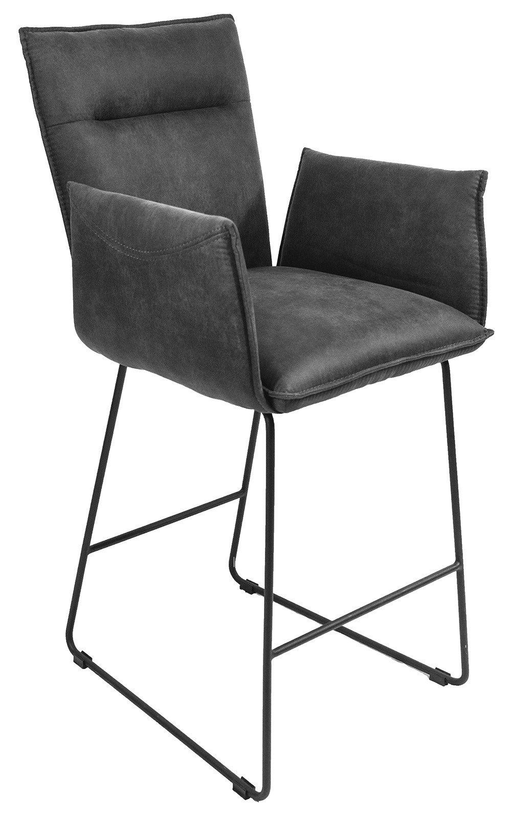 LARSON Bar Stool With Arms - Grey Suede