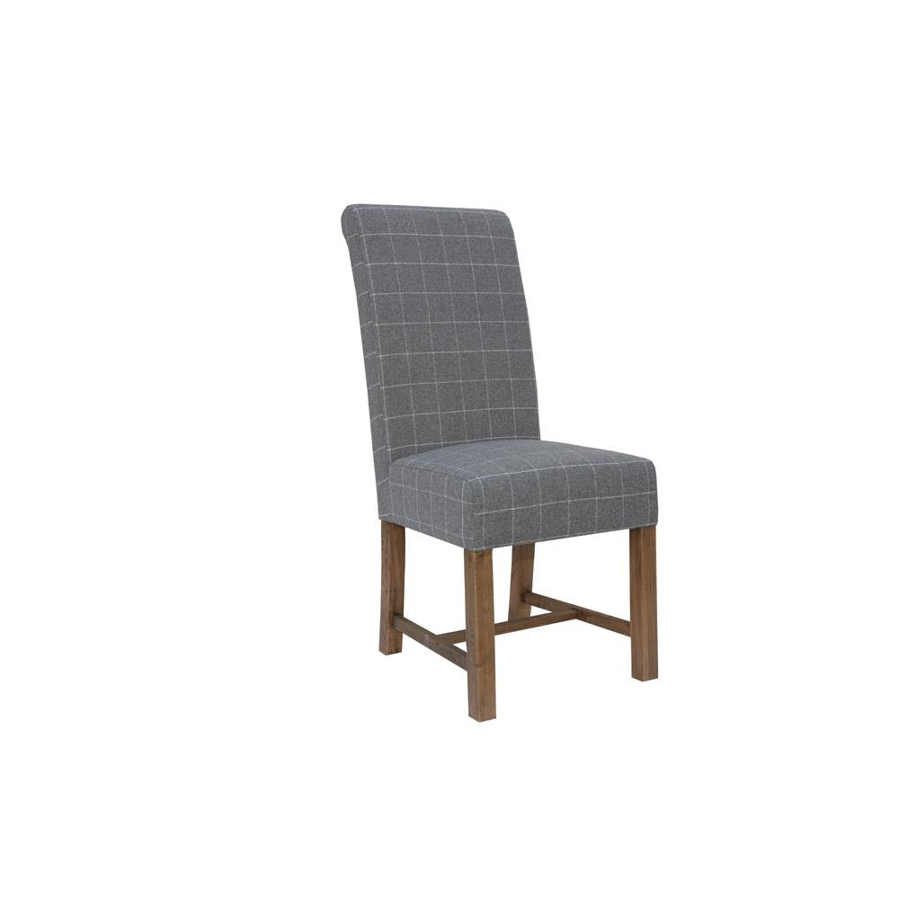 Fabric Dining Chair - Check Grey