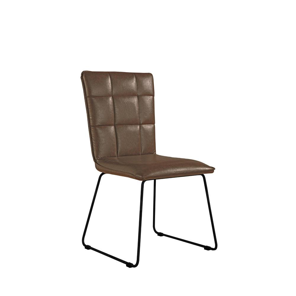 Panel Back Chair With Angled Legs - Brown