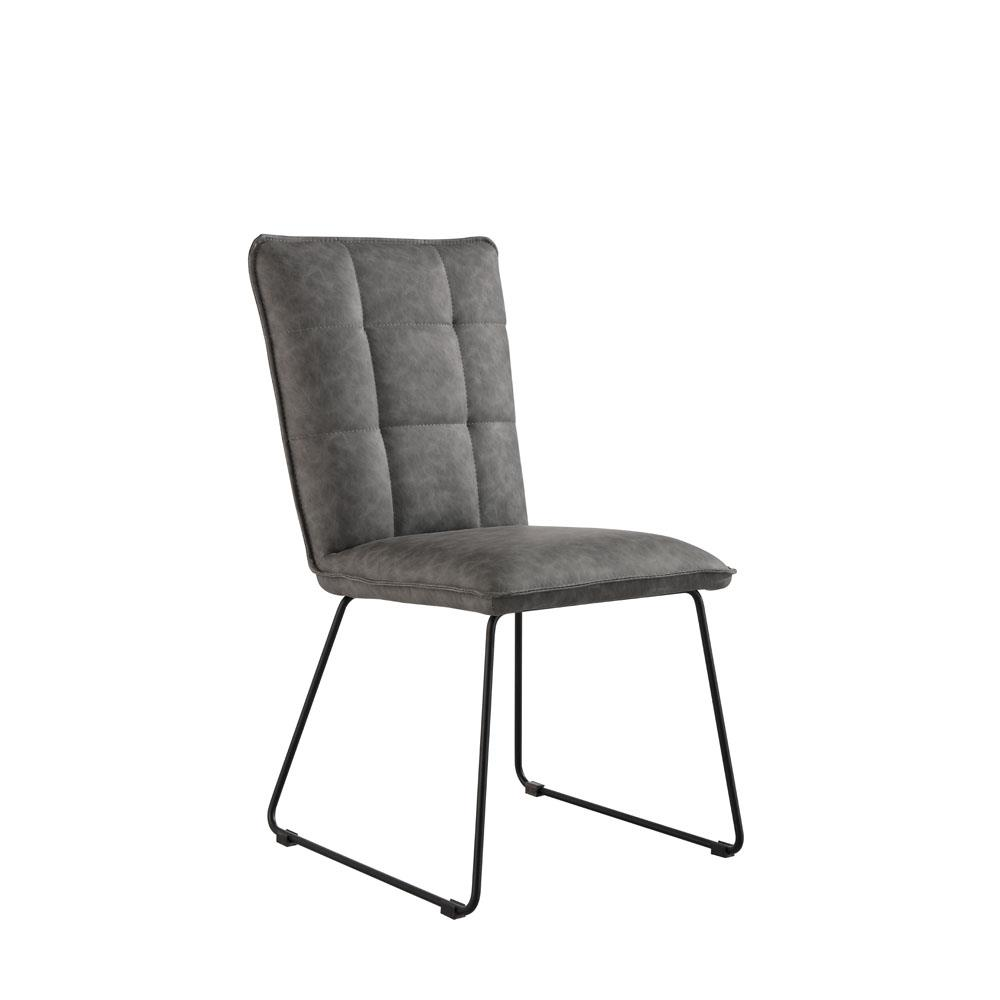 Panel Back Chair With Angled Legs - Grey