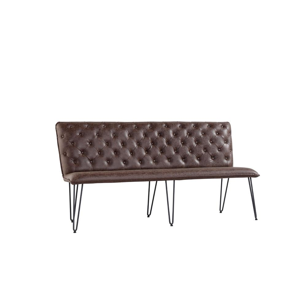Studded Back Bench 180cm with Hairpin Legs - Brown PU
