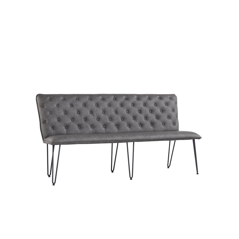 Studded Back Bench 180cm with Hairpin Legs - Grey PU