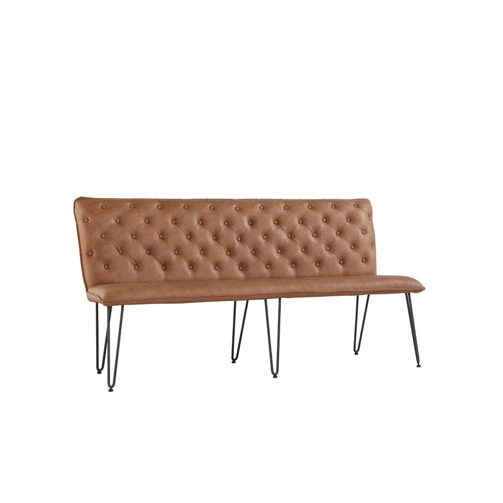 Studded Back Bench 180cm with Hairpin Legs - Tan PU