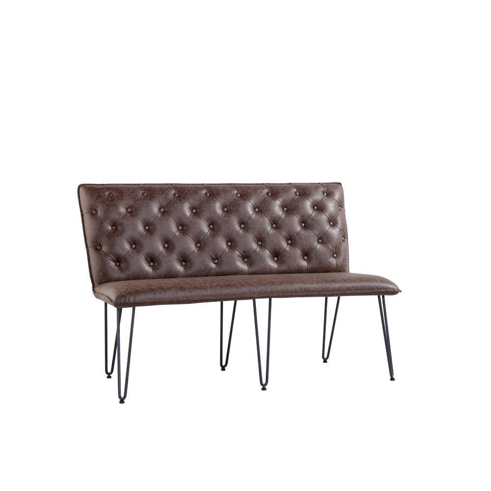 Studded Back Bench 140cm with Hairpin Legs - Brown PU
