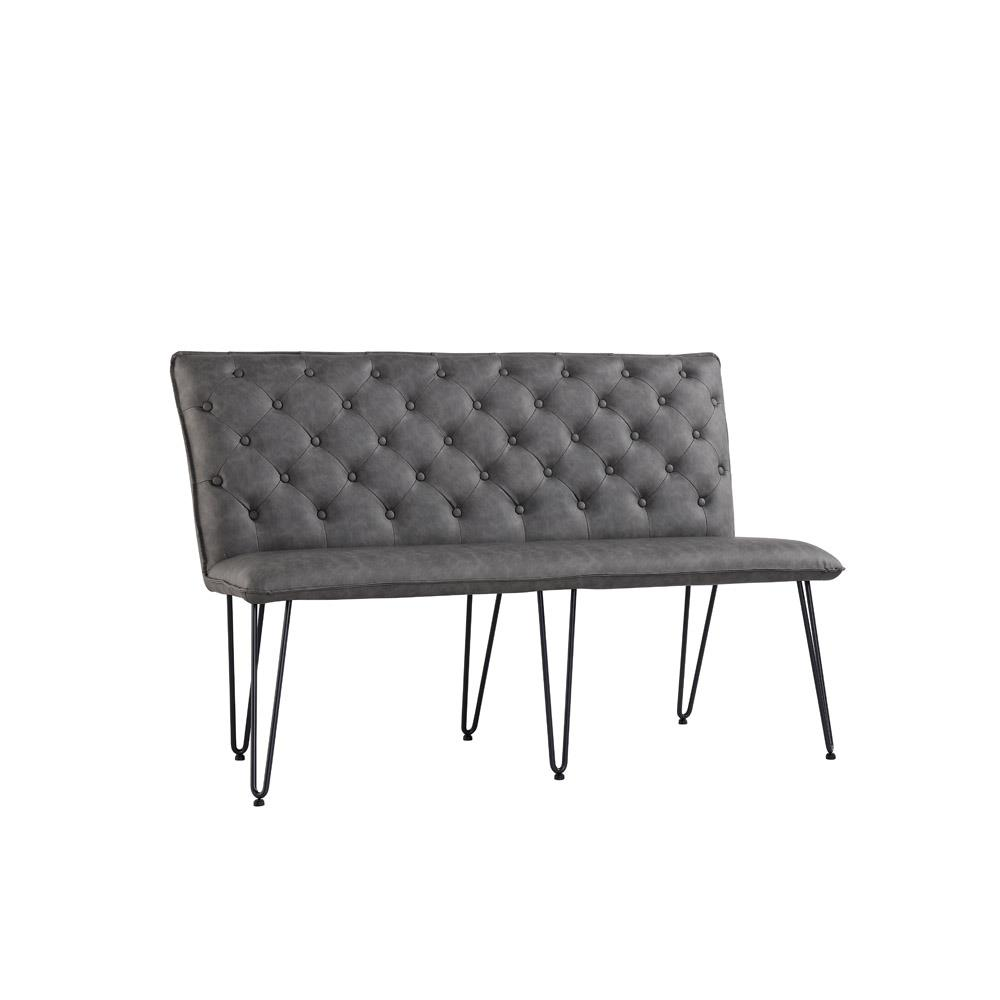Studded Back Bench 140cm with Hairpin Legs - Grey PU