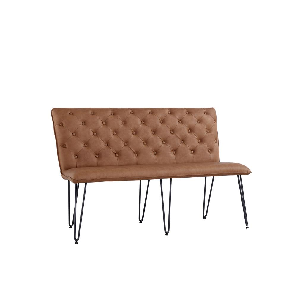 Studded Back Bench 140cm with Hairpin Legs - Tan PU