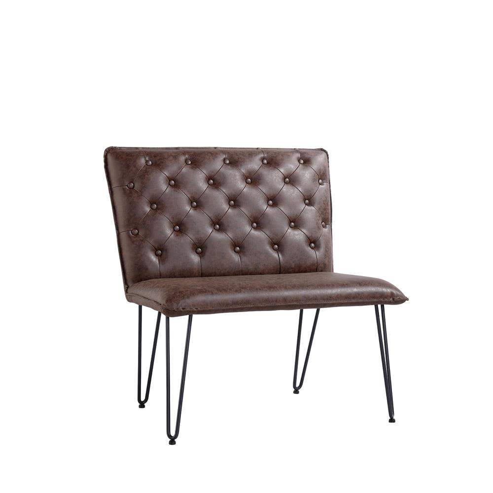 Studded Back Bench 90cm with Hairpin Legs - Brown PU