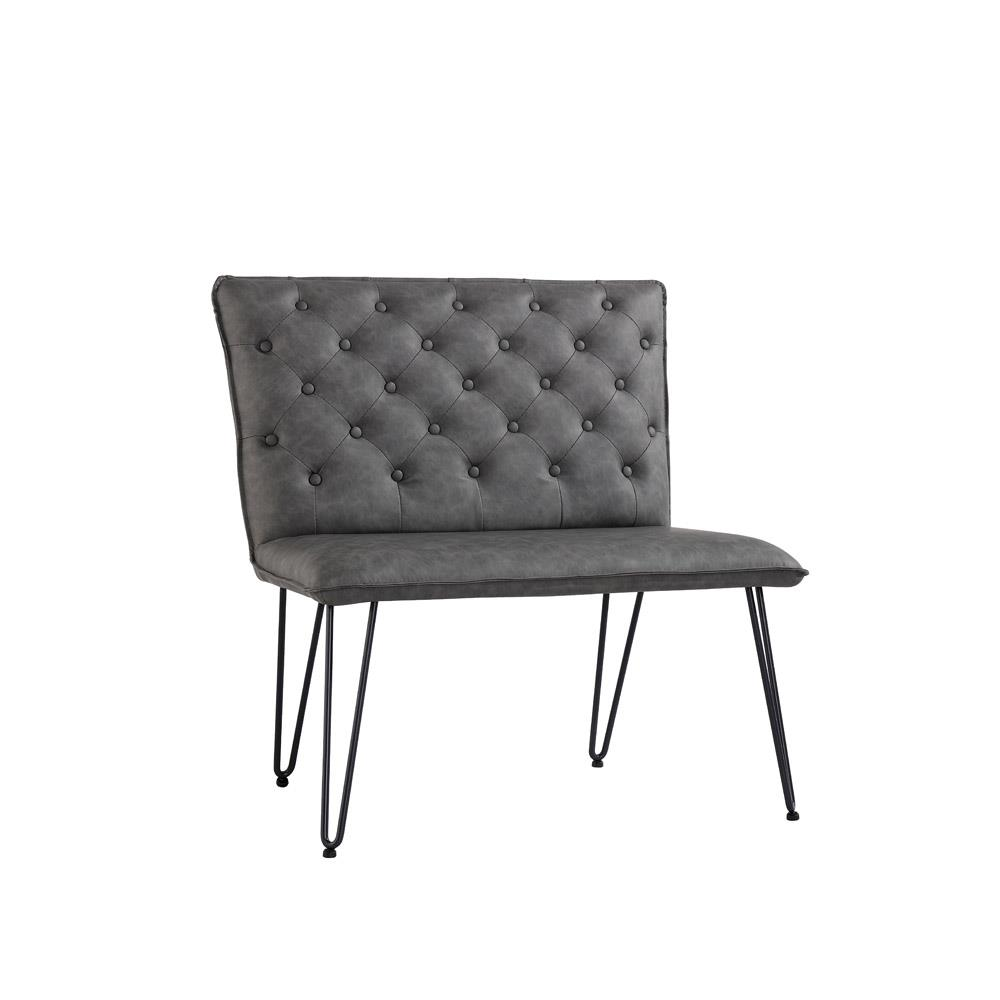 Studded Back Bench 90cm with Hairpin Legs - Grey PU