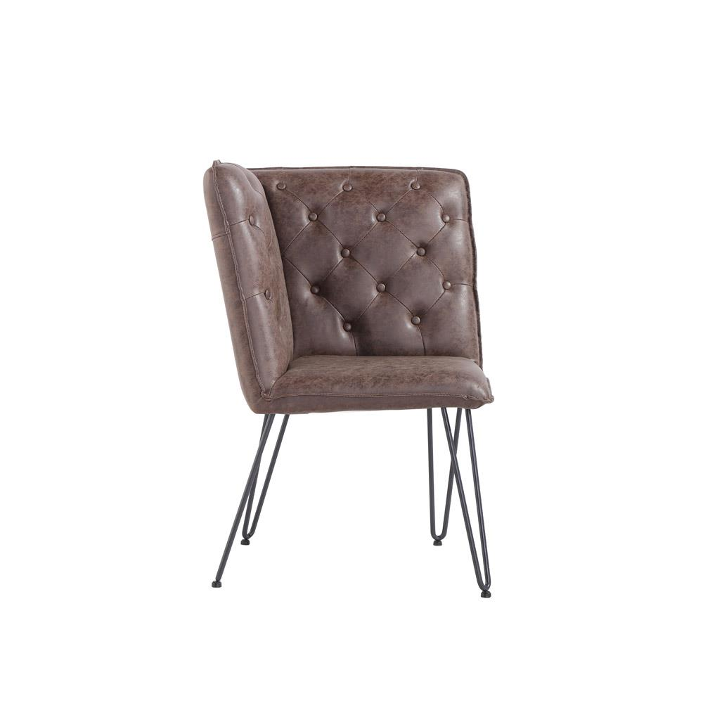 Studded Back Corner Bench with Hairpin Legs - Brown PU