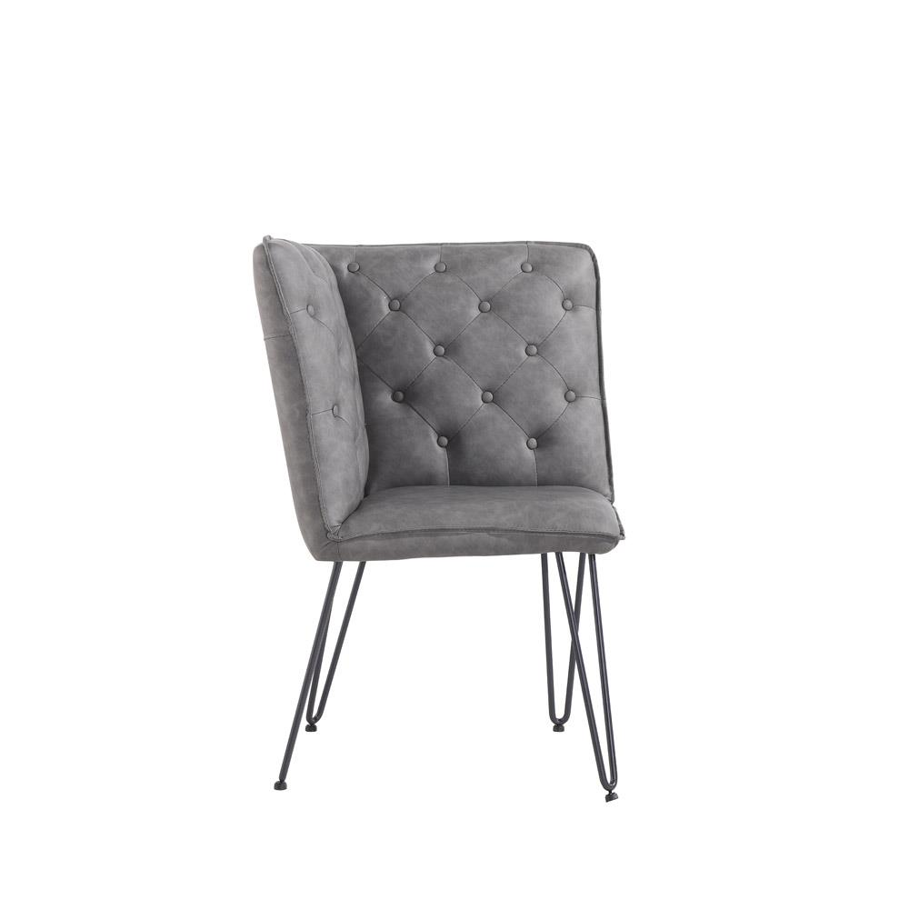 Studded Back Corner Bench with Hairpin Legs - Grey PU