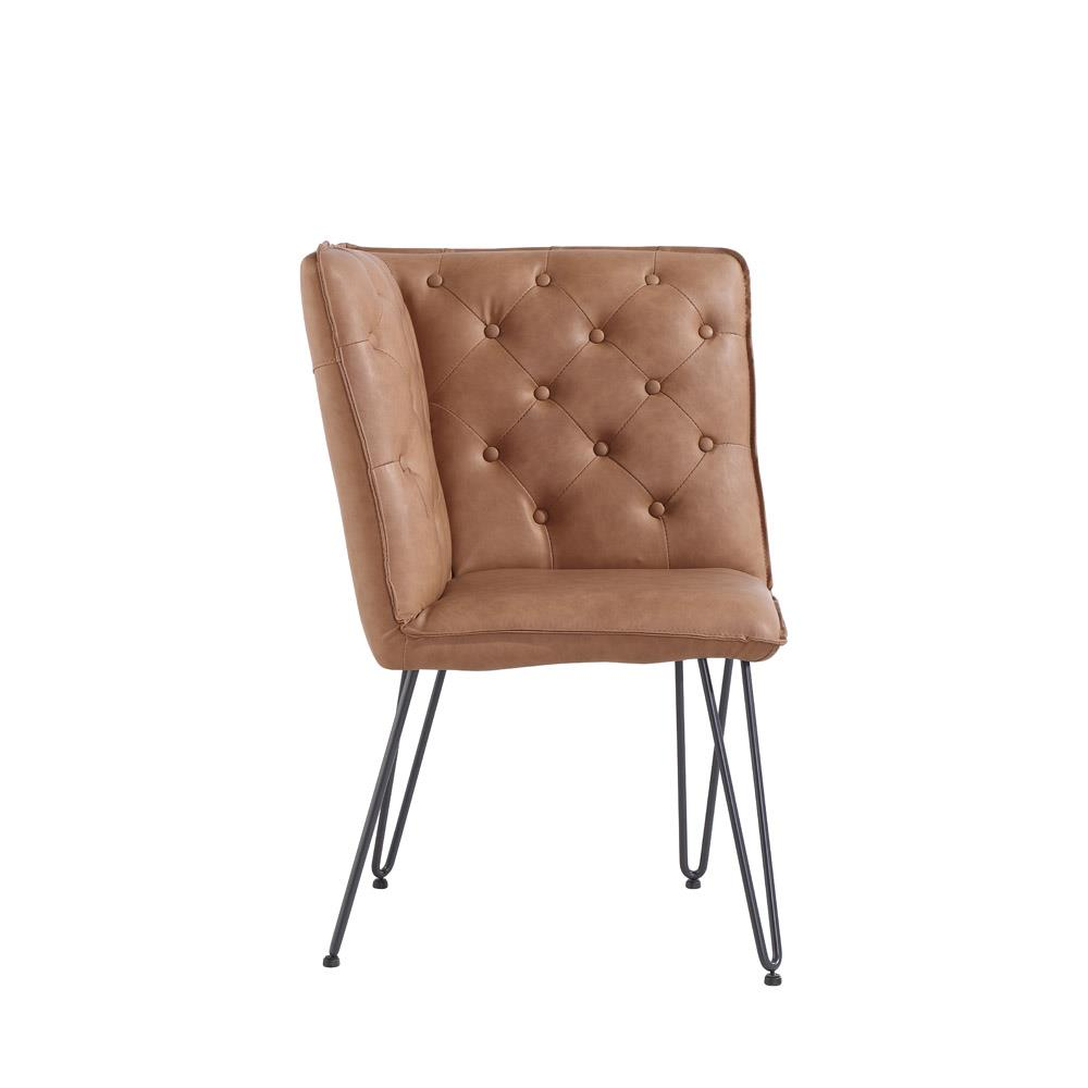 Studded Back Corner Bench with Hairpin Legs - Tan PU