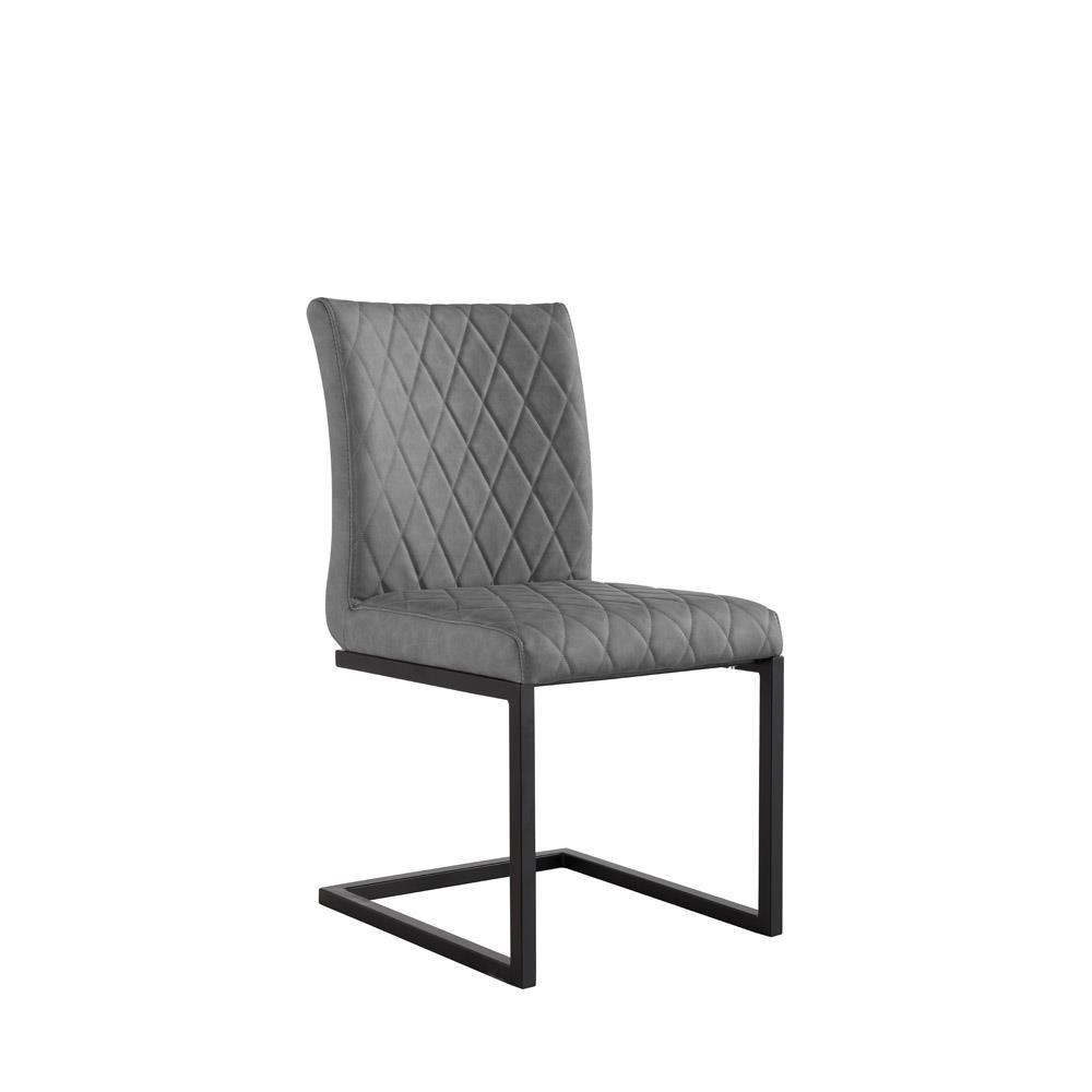 Diamond Stitch Dining Chair - Grey PU