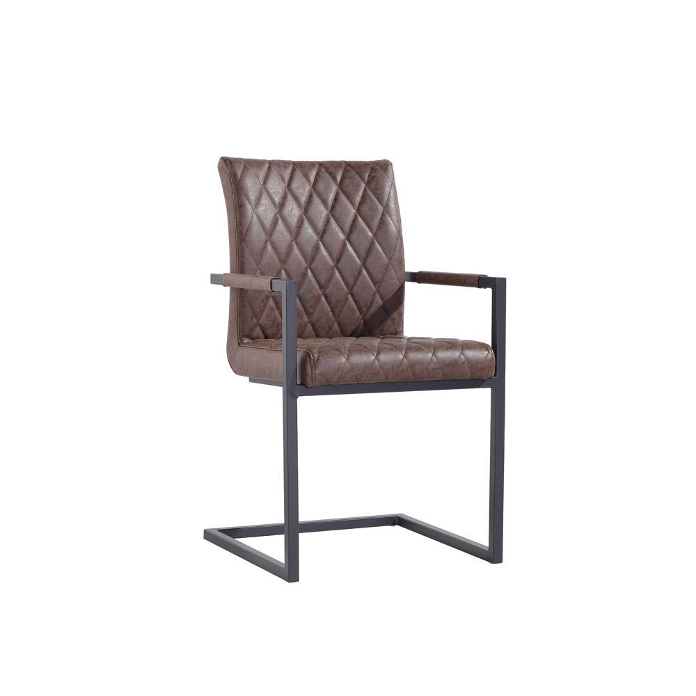 Diamond Stitch Dining Carver Chair - Brown PU