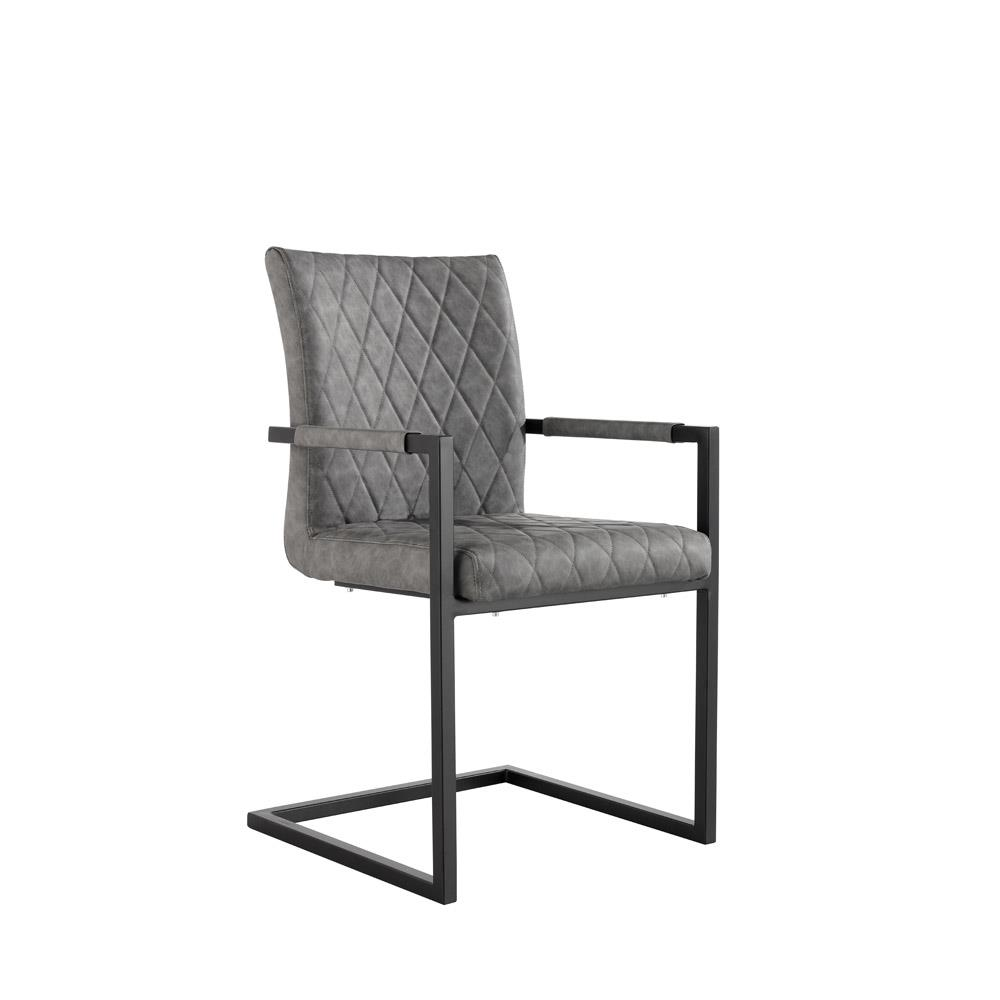 Diamond Stitch Dining Carver Chair - Grey PU