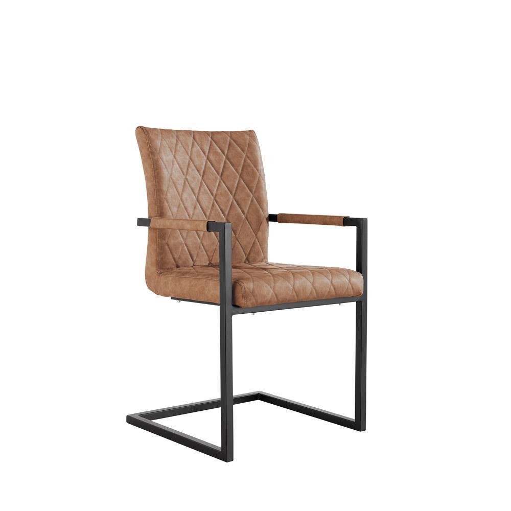 Diamond Stitch Dining Carver Chair - Tan PU