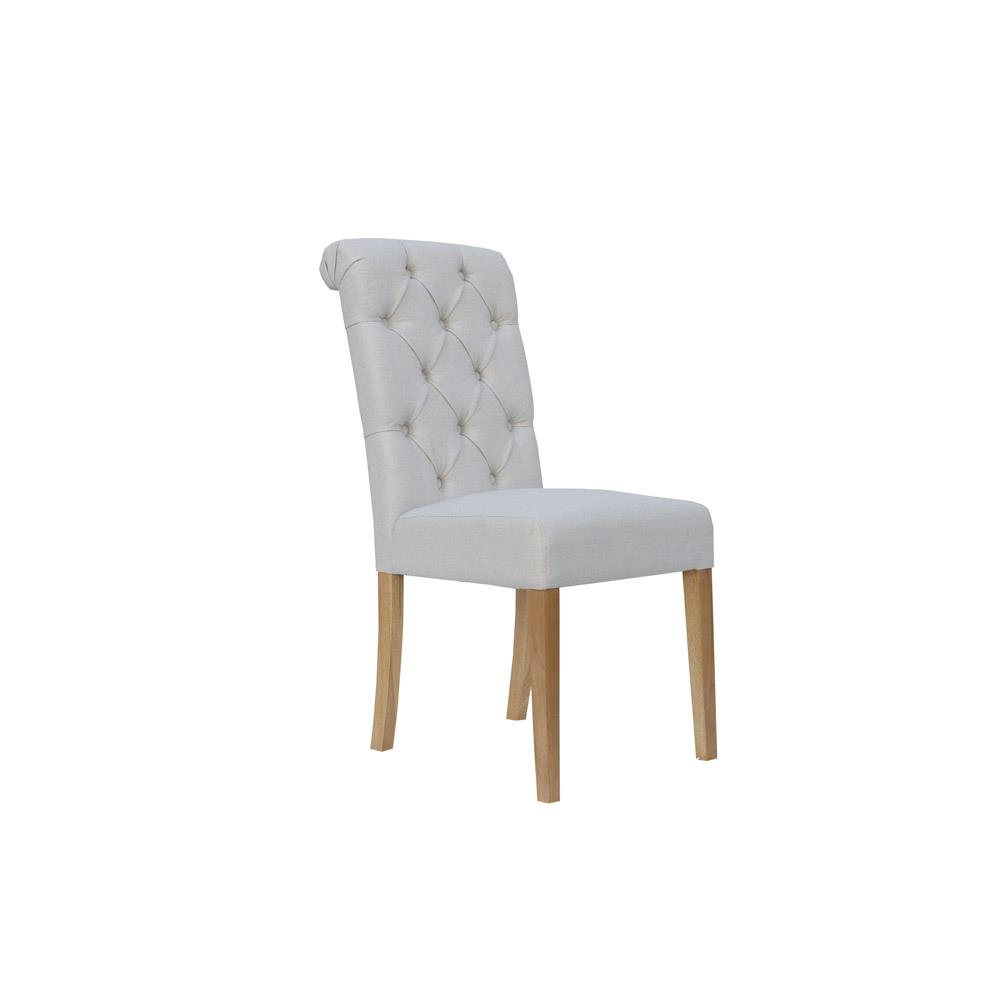 Fabric Button Back Chair with Scroll - Natural