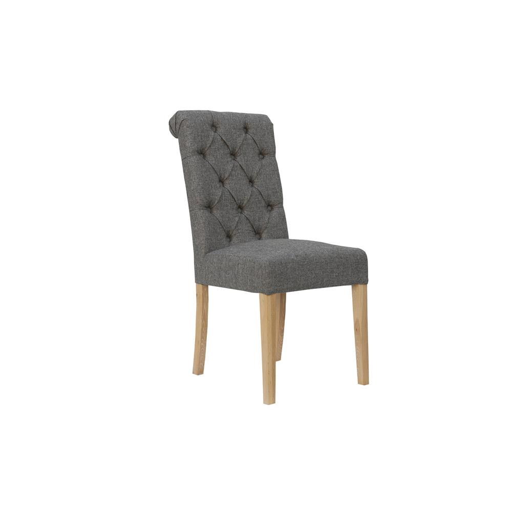 Fabric Button Back Chair with Scroll - Dark Grey