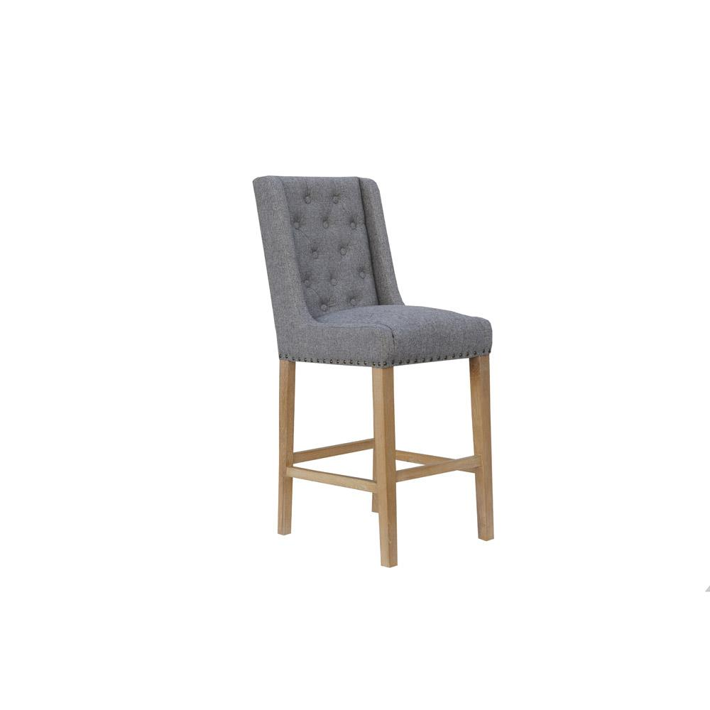 Fabric Button Back Bar Stool - Light Grey