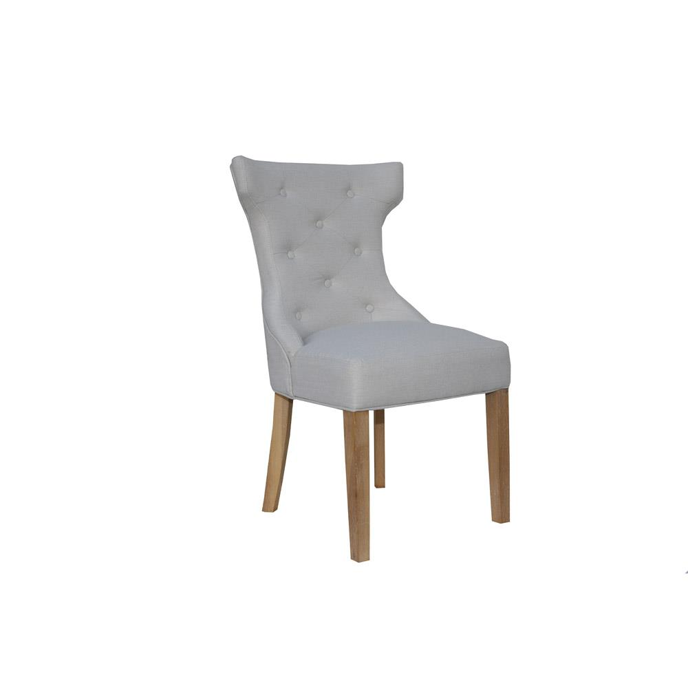 Winged Button Back Chair with Metal Ring - Natural