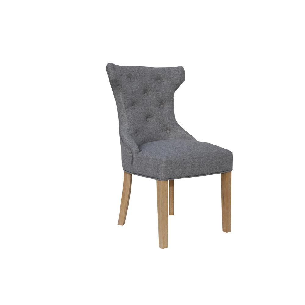 Winged Button Back Chair with Metal Ring - Light Grey