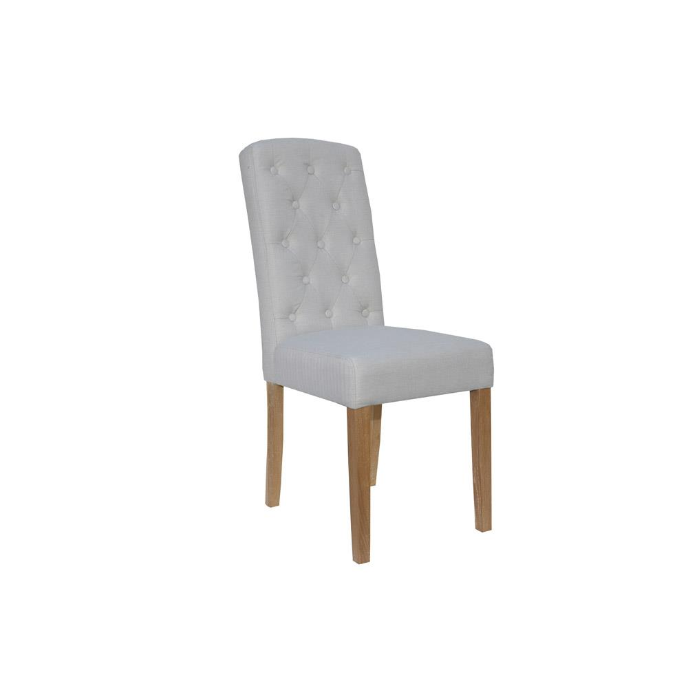 Button Back Upholstered Chair - Natural