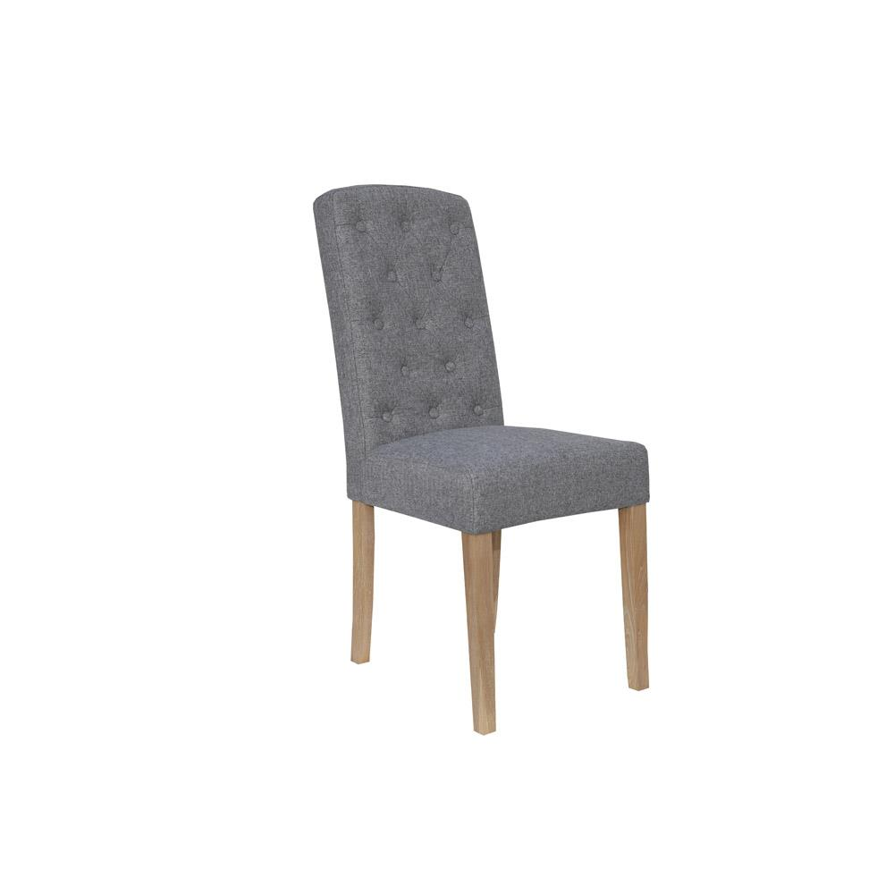 Button Back Upholstered Chair - Light Grey
