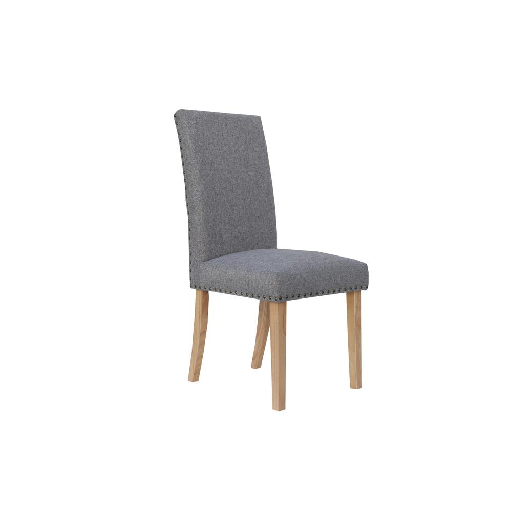 Straight Back Fabric Chair - Light Grey