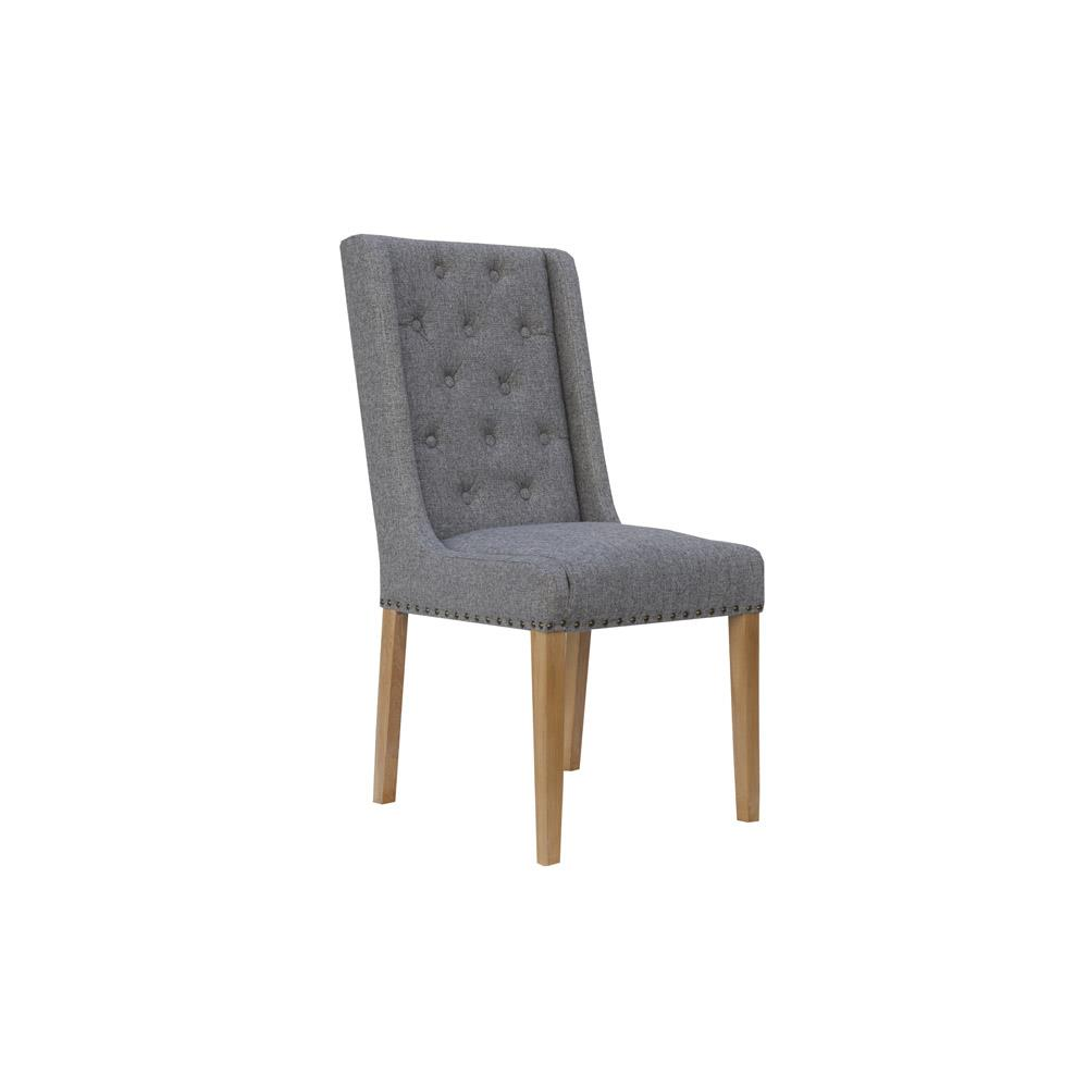 Button Back and Studded Dining Chair - Light Grey