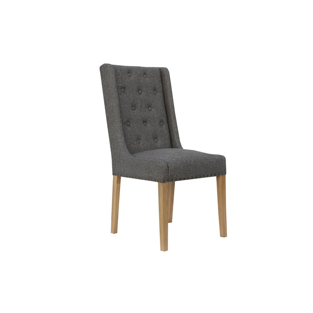 Button Back and Studded Dining Chair - Dark Grey