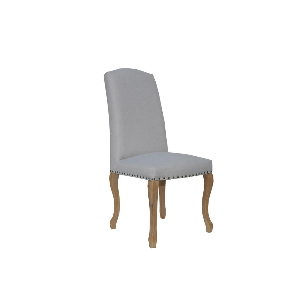 Luxury Chair with Studs Carved Oak Legs - Natural