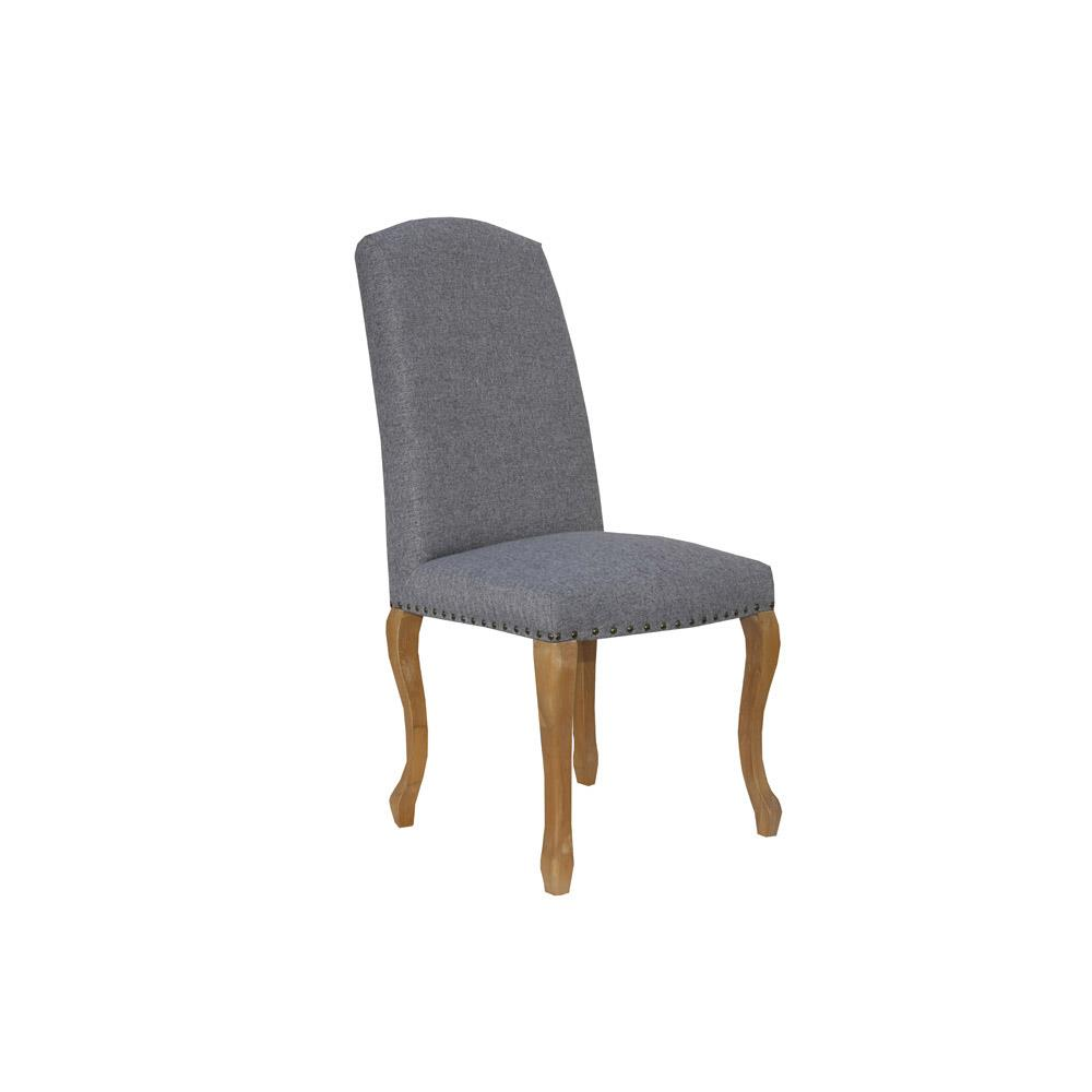 Luxury Chair with Studs Carved Oak Legs - Light Grey