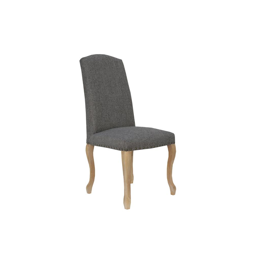 Luxury Chair with Studs Carved Oak Legs - Dark Grey
