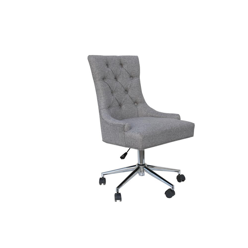Winged Button Back Office Chair with Chrome Legs - Light Grey